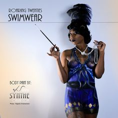 Roaring twenties-inspired swimsuit contest.  #Blues and #Gold #flapper costume body painted by #Synthe #Bodypaint #Bodyart #makeupart #swimsuit  #swimwear #beachwear #swim #summer #desertisland #beachstyle #fashion #wearableart #beachready