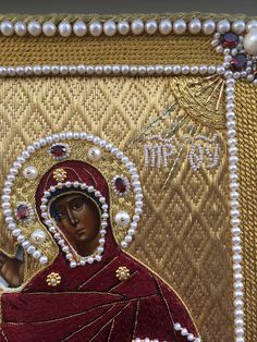 Icon frame. Annunciation. Goldwork, pearl embroidery, silk embroidery. Amethysts, garnets, pearls, purls, gold threads, etc. Made by Larissa Borodich Pearl Embroidery, Hand Embroidery, Images Of Mary, Madonna And Child, Gold Work, Amazing Art, Hand Sewing, Needlework, Amethyst