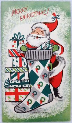 #892 60s Mid Century Santa w/ Big Stocking, Vintage Christmas Card-Greeting