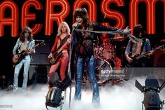 Rock and roll band 'Aerosmith' perform on the Midnight Special TV Show on November 24, 1978 in Los Angeles, California. L-R: Brad Whitford, Tom Hamilton, Steven Tyler, Joey Kramer, Joe Perry.