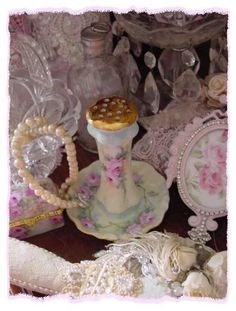 lovely hand painted hat pin holder, fab
