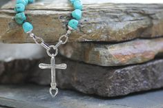 Turquoise and Sterling Silver Mexican cross with by WearJWDesigns