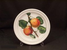 "Portmeirion Pomona No Border Salad Plate - Roman Apricot by Portmeirion. $22.99. Dimensions: 8 5/8"" Dia. Brand New - First Quality. Salad Plate - Roman Apricot - Various Fruits With Their Names Depicted On White Background - Earliar Version Without Green Leaf Border - Design By Susan Williams-Ellis - Made In Britain"