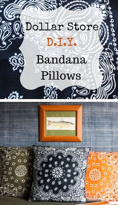 Pop on over now to check out these quick, easy and INEXPENSIVE Dollar Store Bandana Pillows! Add a pop of color to any room in your house!!