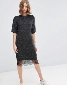 Image 1 ofASOS Jumper Dress with Lace Hem Detail