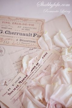 Beautiful French papers and rose petals