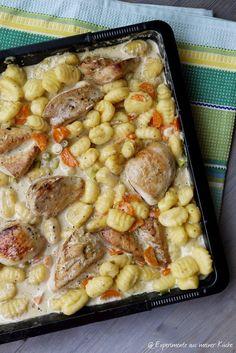 Experimente aus meiner Küche: Gnocchi-Möhren-Hähnchen-Auflauf ca.45 Min.