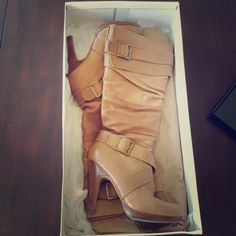 Tall Tan High Heel Boots