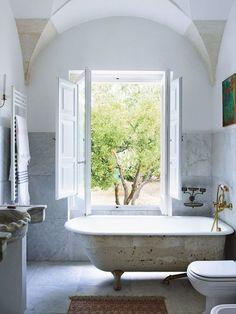 Bathroom with claw foot tub
