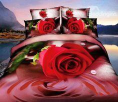 New Arrival Top Class Resplendent Rose Flower 3D Printed 4 Piece Bedding Sets @bedding inn