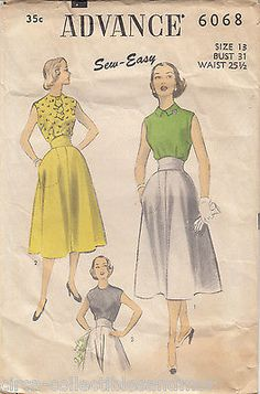 Sleeveless Bouse Skirt Advance Sew Easy Vintage Pattern 6068 Unprinted 1940s