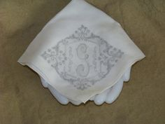 Vintage Hankie With Initial G In Silver Gray by TraceyAnns on Etsy, $17.50
