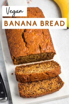 Perfectly sweet and deliciously moist vegan banana bread. This is an easy recipe to make, requiring only 15 minutes of prep time! Great for breakfast, dessert, or even as a snack in the middle of the day. Vegan Banana Bread, Make Banana Bread, Baked Banana, Best Vegan Recipes, Vegan Breakfast Recipes, Fun Baking Recipes, Vegan Meal Prep, Vegan Kitchen, Yummy Snacks