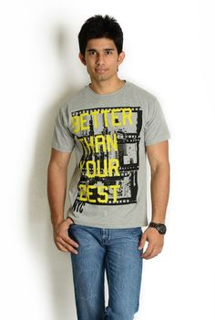 Missing product no 5). Grey T-Shirt with Graphic Word Print | Globus Stores Pvt. Ltd.