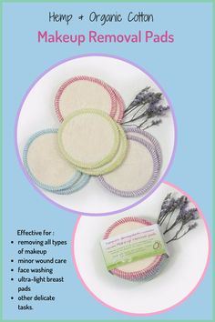 Made of hemp fleece, these reusable makeup removal pads are gentle on the skin and eliminate the need for disposable pads. Made in Canada. International Shipping. #afflink #zerowaste ecofriendly #facialrounds #makeupremovalpads