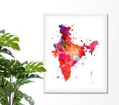 India Watercolor Map 2 Art Print Poster Wall Art by ZuzisStudio