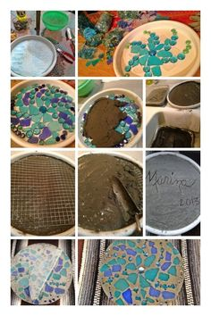 Garden Stepping Stones DIY--just a photo, does not lead to site. Love the signature and date on the 'bottom' of the stone Concrete Stepping Stones, Garden Stepping Stones, Concrete Projects, Mosaic Projects, Stone Mosaic, Mosaic Art, Mosaics, Garden Crafts, Garden Projects