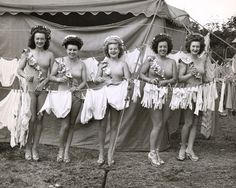 Circus Performers with Laundry | Photograph | Wisconsin Historical Society, undated