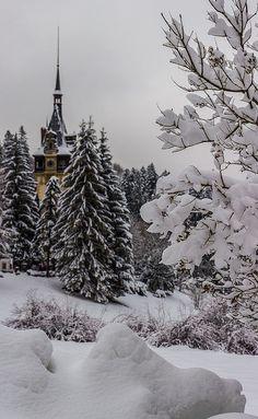 Winter at the Peles Castle in Sinaia town, Romania