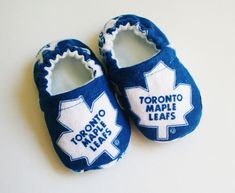 Toronto Maple Leafs hockey team baby/toddler cotton slippers. Grip tight soles for 9 months up. Made to order. by RosenLilyCreationz on Etsy