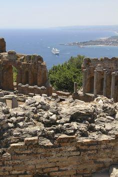 Crystal Serenity anchored in the Taormina harbor, Taormina, province of Messina , Sicily