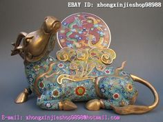Chinese Royal 100% bronze Gild handwork cloisonne unicorn dragon ox Statue   OMG this is gorgeous :)