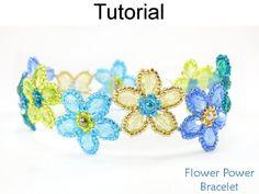Beading Tutorial Pattern  Beaded Flower Bracelet