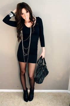 Pair a mid-length long sleeve dress with tights- since it's getting colder tights are a perfect way to keep warm and switch up your look,. American Apparel Dress, All Black Looks, Black Long Sleeve Dress, Dress Long, Black Tights, Tight Dresses, Spring Outfits, Winter Outfits, High Fashion