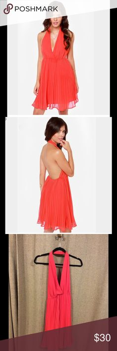 """Lulus Pleated Halter Dress - """"Pretty Red Dress"""" NWT Medium Red Pleated Halter Dress. Marlyn Monroe style. Never worn but does not come with tags, I bought 2 sizes and forgot to return the medium! It is more of an orange/reddish color. Perfect for summer or Spring! lulus Dresses Backless"""