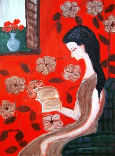 Joy of reading by Lily Pang born in China living in Singapore Reading Art, Woman Reading, I Love Books, My Books, Born In China, Book People, Book Images, Book Nerd, Online Art Gallery