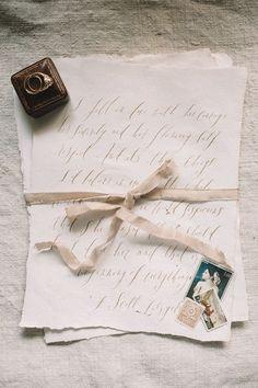 Calligraphy Wedding Invitations and a Vintage Velvet Ring Box | Signora E Mare | http://heyweddinglady.com/rich-romantic-garnet-mocha-wedding-valentines-day/