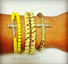 Chain and Sideways Cross Bracelet in Sunshine von missji1203, $20,00
