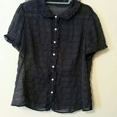 Loft button front shirt (tag removed) Black and white dotted shirt with ruffled edging LOFT Tops Blouses