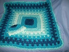 "Baby Receiving Blanket 28"" x 28' & hat teal soft gree  Handmade Crocheted"