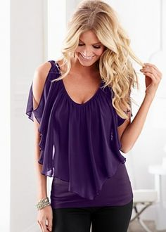 Cold Shoulder Flutter Top---I hate these shirts.