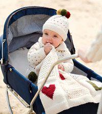 Knitted Baby Set free pattern hat blanket cardigan