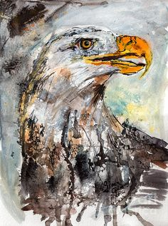 Bald Eagle Watercolor & Ink Painting - Possible tattoo idea, getting an Eagle for my Papa.. I love the abstract of this