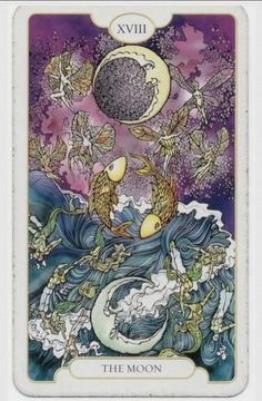 The Moon (18) - Upright: Illusion, fear, anxiety, insecurity, subconscious. Reversed: Release of fear, unhappiness, confusion.