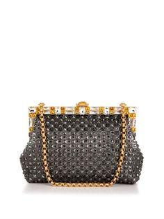 Vanda crystal-embellished leather clutch | Dolce & Gabbana ...
