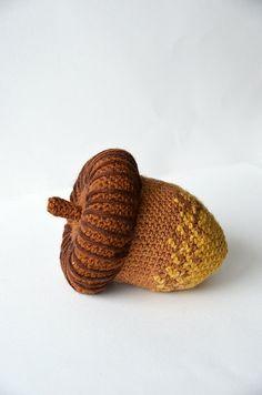 Acorn Oak Nut Forest Crochet Acorn by VliegendeHollander