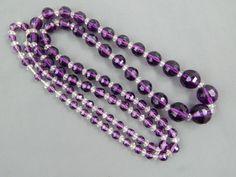 "Vintage Art Deco - Mid Century Graduated Faceted Purple Glass Bead Necklace 32"""