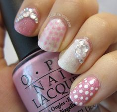 Ok so the rhinestones are slapped on kinda tackily (um is that even a word?) but i pike the pink and polka dots. Lovely In Lacquer: Sparkle and Shimmer Gorgeous Nails, Love Nails, Fun Nails, Pretty Nails, Creative Nail Designs, Creative Nails, Nail Art Designs, Mix Match Nails, Polka Dot Nails