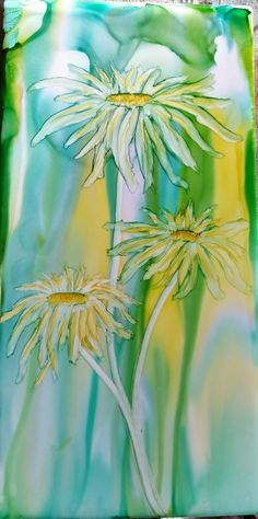 Daisy's in alcohol ink on 8x4 ceramic tile by Tina