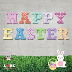 HAPPY EASTER patterned letter printable banner.