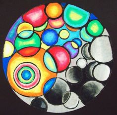 Oil Pastel and Black Watercolor, Circular Composition - Conway High School Art Project