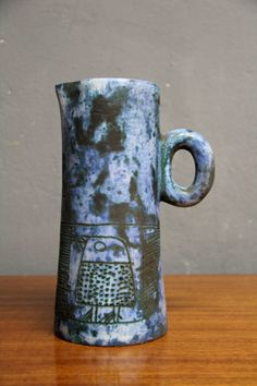 Jacques Blin; Glazed Ceramic Pitcher, 1950s.