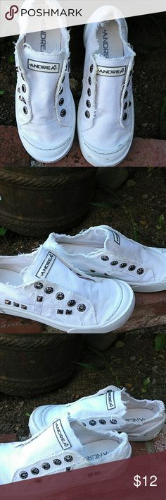 White Canvas shoe Still super cute worn no no lace shoe  some stud missing but clean Andrea Shoes Sneakers