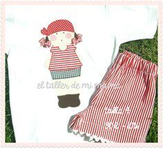 """El taller de mi mamá - Ropa, Decoración y Regalos personalizados para niñas y niños: conjuntos de verano """"OUTLET"""" Pirata niña"""