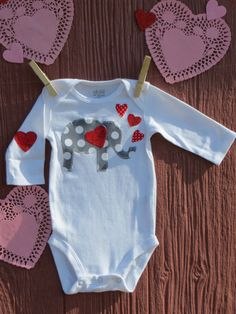 Valentine's Day elephant badysuit for little by SmallWorldClothing
