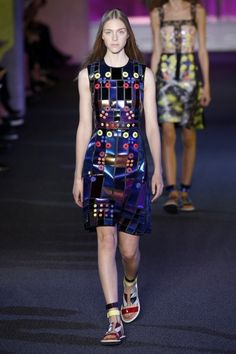 FLARE Was There - Best Shoes on the Runway: Peter Pilotto's colourful geometric sandals - http://www.flare.com/fashion/fashion-week/london-fashion-week-jillians-7-best-and-worst-moments/